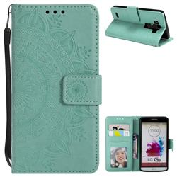Intricate Embossing Datura Leather Wallet Case for LG G3 D850 D855 LS990 - Mint Green