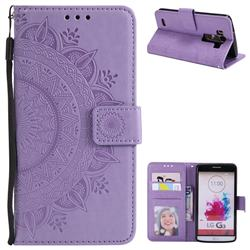 Intricate Embossing Datura Leather Wallet Case for LG G3 D850 D855 LS990 - Purple