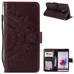Intricate Embossing Datura Leather Wallet Case for LG G3 D850 D855 LS990 - Brown