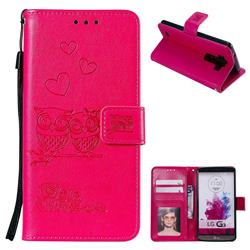 Embossing Owl Couple Flower Leather Wallet Case for LG G3 D850 D855 LS990 - Red