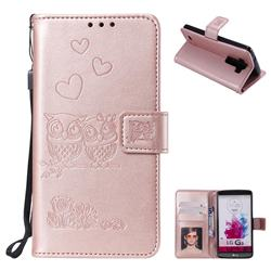 Embossing Owl Couple Flower Leather Wallet Case for LG G3 D850 D855 LS990 - Rose Gold