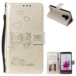 Embossing Owl Couple Flower Leather Wallet Case for LG G3 D850 D855 LS990 - Golden