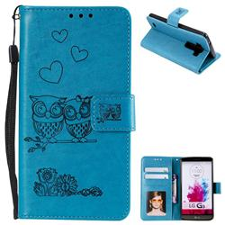 Embossing Owl Couple Flower Leather Wallet Case for LG G3 D850 D855 LS990 - Blue