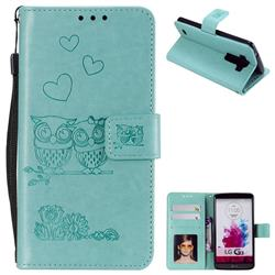Embossing Owl Couple Flower Leather Wallet Case for LG G3 D850 D855 LS990 - Green