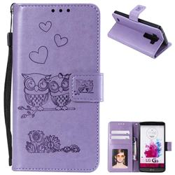 Embossing Owl Couple Flower Leather Wallet Case for LG G3 D850 D855 LS990 - Purple