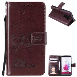 Embossing Owl Couple Flower Leather Wallet Case for LG G3 D850 D855 LS990 - Brown
