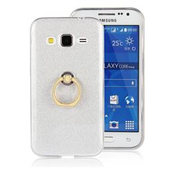 Luxury Soft TPU Glitter Back Ring Cover with 360 Rotate Finger Holder Buckle for Samsung Galaxy Core Prime G360 - White