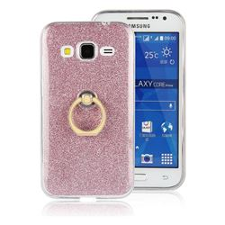 Luxury Soft TPU Glitter Back Ring Cover with 360 Rotate Finger Holder Buckle for Samsung Galaxy Core Prime G360 - Pink