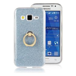 Luxury Soft TPU Glitter Back Ring Cover with 360 Rotate Finger Holder Buckle for Samsung Galaxy Core Prime G360 - Blue