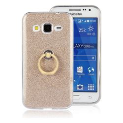 Luxury Soft TPU Glitter Back Ring Cover with 360 Rotate Finger Holder Buckle for Samsung Galaxy Core Prime G360 - Golden