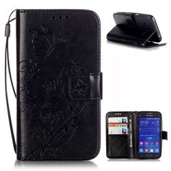 Embossing Butterfly Flower Leather Wallet Case for Samsung Galaxy Core Prime G360 - Black