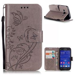 Embossing Butterfly Flower Leather Wallet Case for Samsung Galaxy Core Prime G360 - Grey