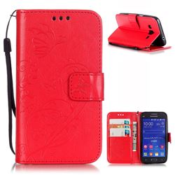 Embossing Butterfly Flower Leather Wallet Case for Samsung Galaxy Core Prime G360 - Red