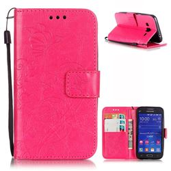 Embossing Butterfly Flower Leather Wallet Case for Samsung Galaxy Core Prime G360 - Rose