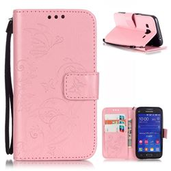 Embossing Butterfly Flower Leather Wallet Case for Samsung Galaxy Core Prime G360 - Pink