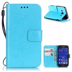 Embossing Butterfly Flower Leather Wallet Case for Samsung Galaxy Core Prime G360 - Blue