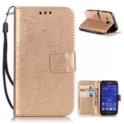 Embossing Butterfly Flower Leather Wallet Case for Samsung Galaxy Core Prime G360 - Champagne