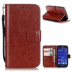 Embossing Butterfly Flower Leather Wallet Case for Samsung Galaxy Core Prime G360 - Brown