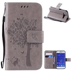 Embossing Butterfly Tree Leather Wallet Case for Samsung Galaxy Core Prime G360 - Grey