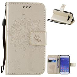 Embossing Butterfly Tree Leather Wallet Case for Samsung Galaxy Core Prime G360 - Champagne