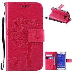 Embossing Butterfly Tree Leather Wallet Case for Samsung Galaxy Core Prime G360 - Rose