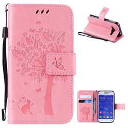 Embossing Butterfly Tree Leather Wallet Case for Samsung Galaxy Core Prime G360 - Pink