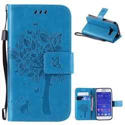 Embossing Butterfly Tree Leather Wallet Case for Samsung Galaxy Core Prime G360 - Blue