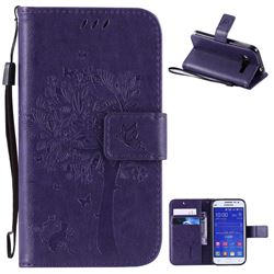 Embossing Butterfly Tree Leather Wallet Case for Samsung Galaxy Core Prime G360 - Purple