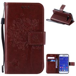 Embossing Butterfly Tree Leather Wallet Case for Samsung Galaxy Core Prime G360 - Brown