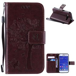Embossing Butterfly Tree Leather Wallet Case for Samsung Galaxy Core Prime G360 - Coffee