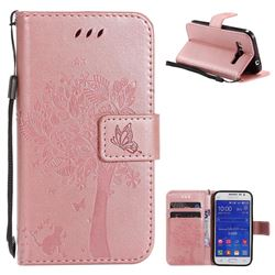 Embossing Butterfly Tree Leather Wallet Case for Samsung Galaxy Core Prime G360 - Rose Pink