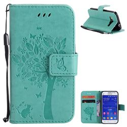 Embossing Butterfly Tree Leather Wallet Case for Samsung Galaxy Core Prime G360 - Cyan