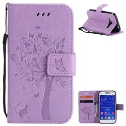 Embossing Butterfly Tree Leather Wallet Case for Samsung Galaxy Core Prime G360 - Violet