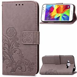 Embossing Imprint Four-Leaf Clover Leather Wallet Case for Samsung Galaxy Core Prime G360 - Gray