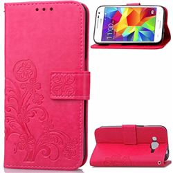 Embossing Imprint Four-Leaf Clover Leather Wallet Case for Samsung Galaxy Core Prime G360 - Rose
