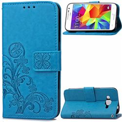 Embossing Imprint Four-Leaf Clover Leather Wallet Case for Samsung Galaxy Core Prime G360 - Blue