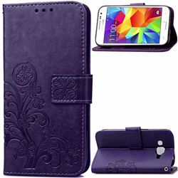 Embossing Imprint Four-Leaf Clover Leather Wallet Case for Samsung Galaxy Core Prime G360 - Purple