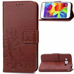 Embossing Imprint Four-Leaf Clover Leather Wallet Case for Samsung Galaxy Core Prime G360 - Brown