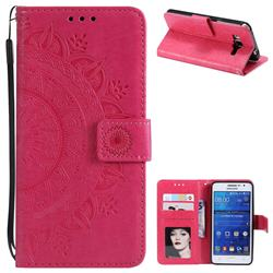 Intricate Embossing Datura Leather Wallet Case for Samsung Galaxy Core Prime G360 - Rose Red