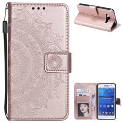 Intricate Embossing Datura Leather Wallet Case for Samsung Galaxy Core Prime G360 - Rose Gold