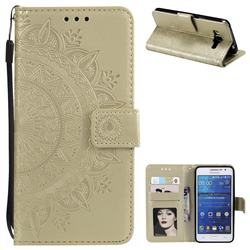 Intricate Embossing Datura Leather Wallet Case for Samsung Galaxy Core Prime G360 - Golden