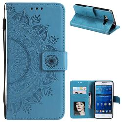 Intricate Embossing Datura Leather Wallet Case for Samsung Galaxy Core Prime G360 - Blue