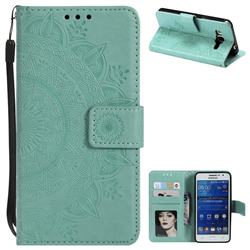 Intricate Embossing Datura Leather Wallet Case for Samsung Galaxy Core Prime G360 - Mint Green