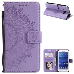 Intricate Embossing Datura Leather Wallet Case for Samsung Galaxy Core Prime G360 - Purple
