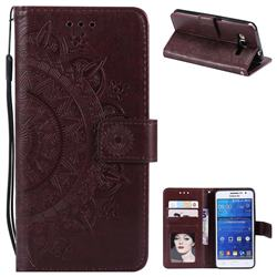 Intricate Embossing Datura Leather Wallet Case for Samsung Galaxy Core Prime G360 - Brown