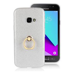 Luxury Soft TPU Glitter Back Ring Cover with 360 Rotate Finger Holder Buckle for Samsung Galaxy Xcover 4 G390F - White