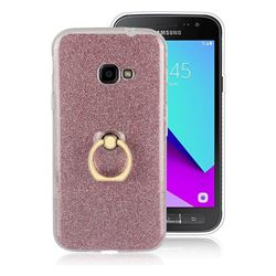 Luxury Soft TPU Glitter Back Ring Cover with 360 Rotate Finger Holder Buckle for Samsung Galaxy Xcover 4 G390F - Pink