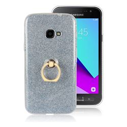 Luxury Soft TPU Glitter Back Ring Cover with 360 Rotate Finger Holder Buckle for Samsung Galaxy Xcover 4 G390F - Blue
