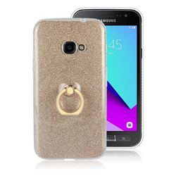 Luxury Soft TPU Glitter Back Ring Cover with 360 Rotate Finger Holder Buckle for Samsung Galaxy Xcover 4 G390F - Golden
