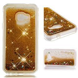 Dynamic Liquid Glitter Quicksand Sequins TPU Phone Case for Samsung Galaxy Xcover 4 G390F - Golden